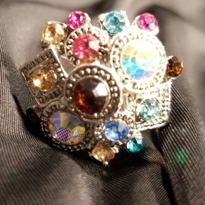 Multi colored adjustable ring